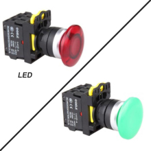 5 PCS Push button switch Industrial switch Mushroom button LED Latching OR Momentary Waterproof IP651NO 1NC 2NO 2NC