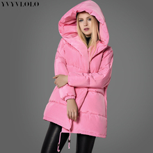 YVYVLOLO Women's Winter Jacket Pink girl coat 2017 New fashion cute loose parkas hooded down jacket button jacket women(China)