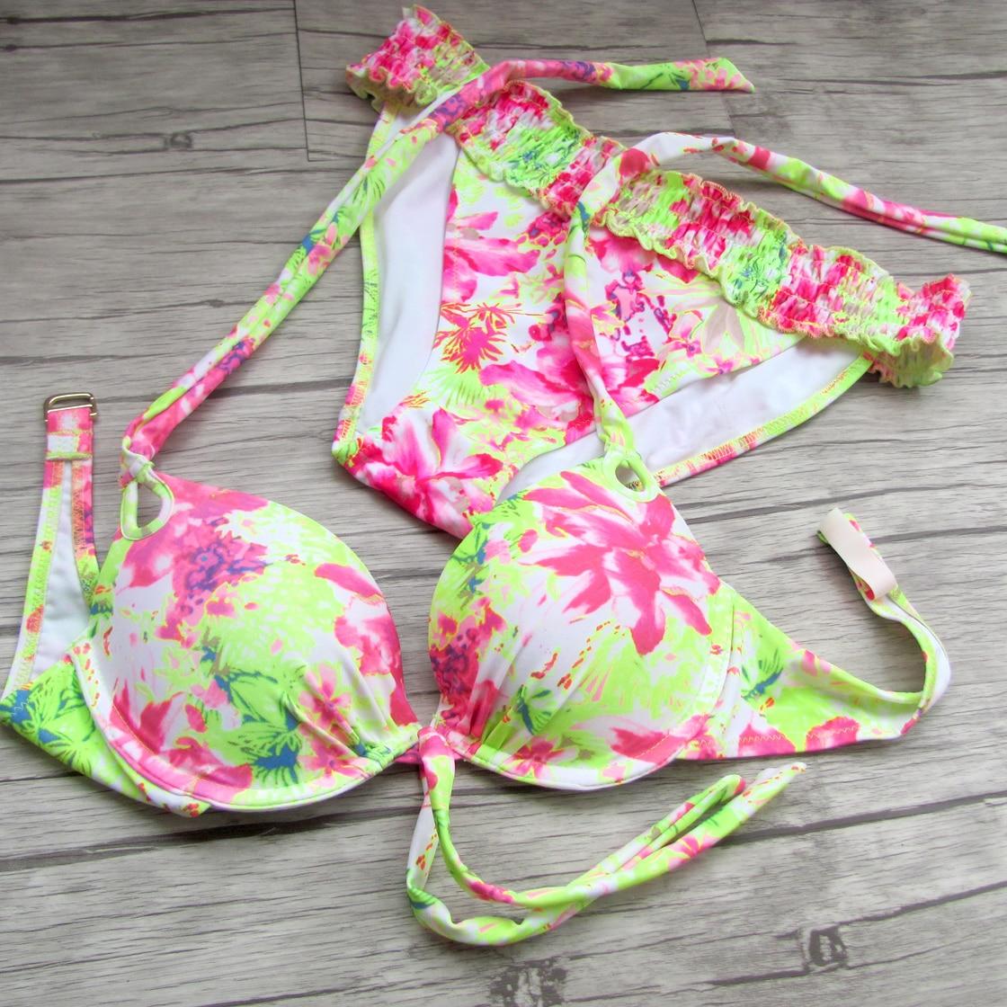 2017 Sexy bathing suits women bikinis Printing yellow Sexystrapless maillot de bain bikini women swimwear Design Secret<br><br>Aliexpress