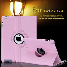 Free shipping Pu Leather 360 Rotating Case Smart Stand For New APPLE iPad 2 3 4 Tablet Case + pen + Film(China)