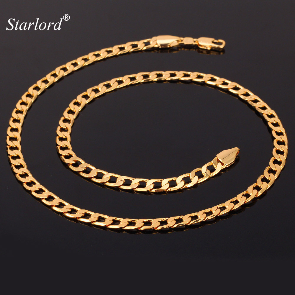 Miami Cuban Chain Necklace Men 5MM Width Gold Color Fashion Gift Wholesale Curb Link Chain Men Hip Hop Jewelry N744(China)