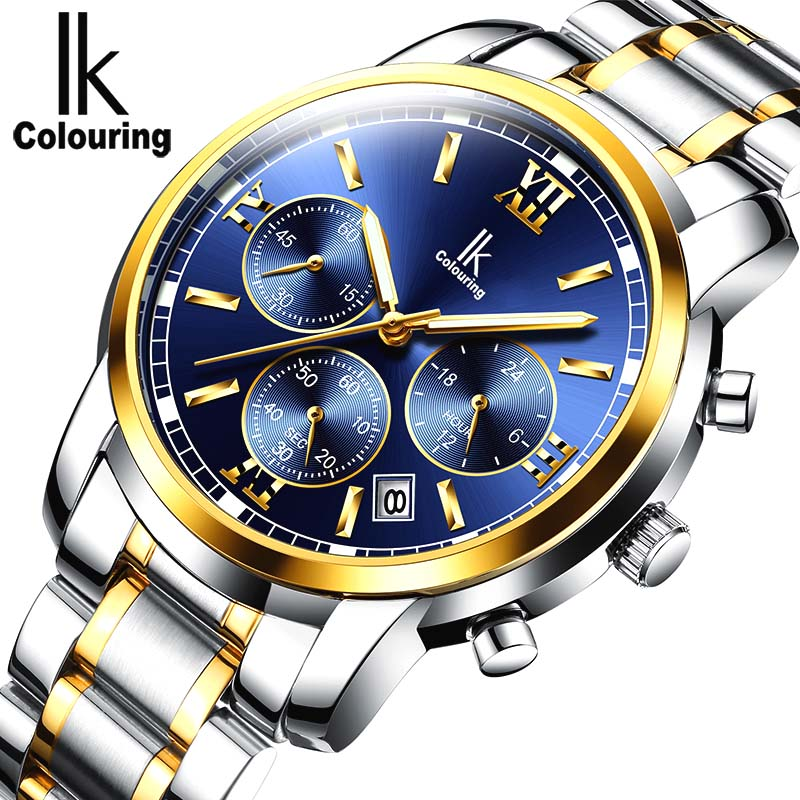 Relogio masculino IK colouring Mens Watch Brand Luxury Fashion Business Quartz Watch Men Sport Full Steel Waterproof Wristwatch<br>