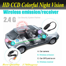 2.4G wireless car camera video transmitter and receiver for car Portable gps/car DVD/car monitor With USB and earphone connect(China)