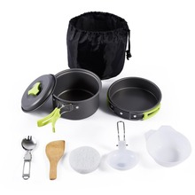 1Set Cookware Portable Outdoor Cooking Tool Picnic BBQ Pot Pan Plate Cup Set Stainless Steel Tableware Cutlery Camping Free Ship(China)