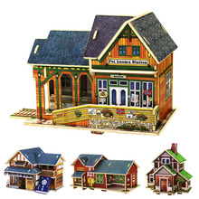 3D Wooden House Models Construction Puzzle Craft DIY Children Fun Building Toy Hot