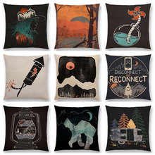 Bear wolf Wild Bonfire Forests Night Mountains Rivers Sun Moon Winter Exploration Camp Aurora Cushion Cover Sofa Pillow Case
