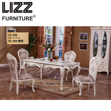 Marble Dining Table Dining Room Furniture Set Royal Furniture Antique Style Muebels Square Table Chesterfield Leather Chair(China)
