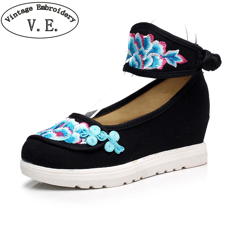 Vintage Embroidery New Women Pumps Flowers Canvas Platforms Ankle Wrap Retro Cotton Fabric  Shoes for Ladies 34-41<br><br>Aliexpress