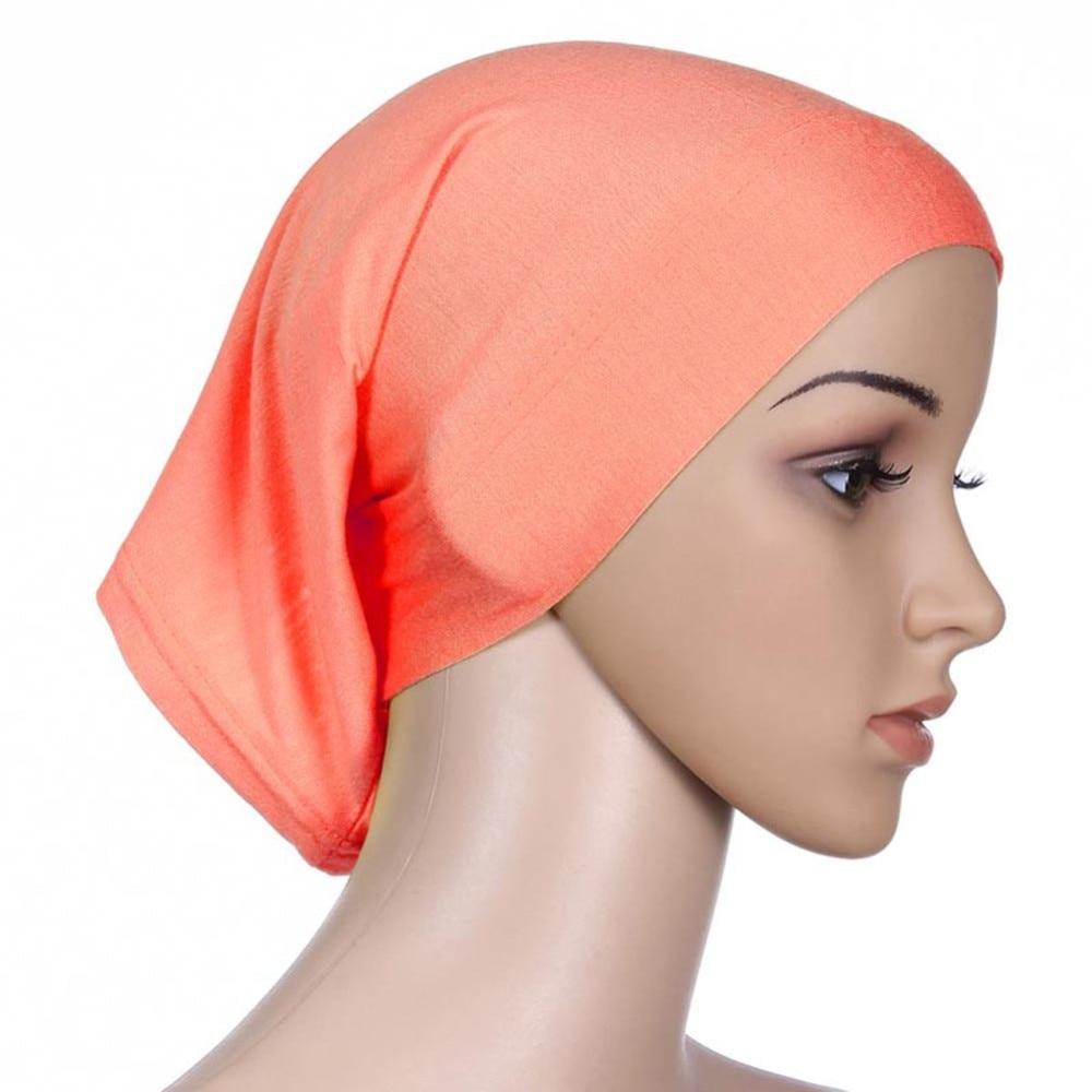 ROPALIA Women Fashion Islamic Hijab Cap Scarf Tube Bonnet Hair Wrap Female  Colorful Head Band 4