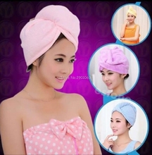 4 Colors Quickly Dry Hair Hat Microfiber Solid Hair Turban Womens Girls Ladies Cap Bathing Tool Drying Towel Head Wrap Hat H06