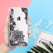 Floral Sexy Lace Mandala Case For iPhone X 8 7 6 6S Plus 5 5S SE 5C 4 4S Fashion Vintage Flower Clear Capa Back Soft TPU