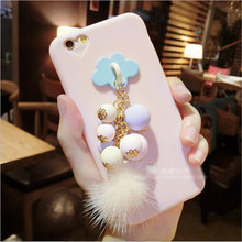 UVR Clouds heart with plush bead Pendant for iphone 6 6s plus 7 7plus 5s case phone cases back Covering Mobile phone case capa