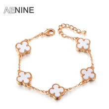 AENINE Romantic Valentine's Gift Rose Gold Color Clover Bangle Bracelets For Women Trendy Jewelry Pulseira B150150350R