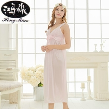 Summer New Sexy Long Nightdress Women Sling Lace Embroidered Nightwear Ice Silk Nightgown Princess Cute Girl Home Sleepwear(China)