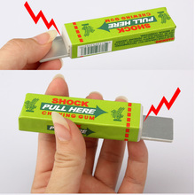 Safety Trick Joke Toy Electric Shock Shocking Chewing Gum Pull Head Toy Kids Children Gift Trick Gag Funny Toys (Random Color)