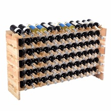 Goplus 72 Bottle Wine Racks Wooden Stackable Storage 6 Tier Storage Wine Bottle Holder Kitchen Bar Large Display Shelves HW51130(China)