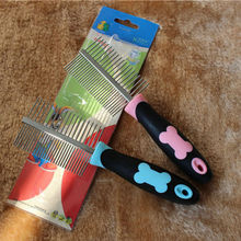 1 Pcs Pets Two-sided Straight Comb Plastic Handle + Stainless Steel Pins Dog Bones Grooming Brush 8*15cm