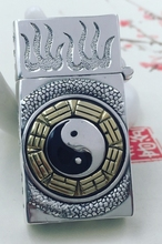 CQD 6*3* 2cm Six carved reliefs S925 sterling silver hand carved rectangle Bagua map back dragon lighters(China)