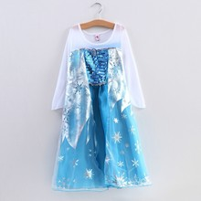 EMS DHL Free shipping little girls kids Cute Elsa Princess Tulle Easter cosplay Dress Sequin Elegant Tulle Dress Cape dress(China)
