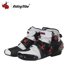 Riding Tribe Motorcycle Racing Ankle joint protection motorcycle boots white red black men's Motorcycle short Boots(China)