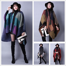 new winter autumn women wrap acrylic polyester blend cape splice grid plaid poncho shawl thick blanket scarf YOUNGER STORE YG075