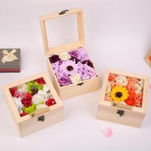 Romantic Mother Lover Valentines Day Wedding Gifts Flowers With wood Box Essential  Soap Rose Flowers Oil Beautiful Gift 35