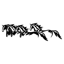 25.4*7.6CM Wild Horses Running Cool Car Styling Accessories Car Door Stickers Decal Black/Silver C9-0849