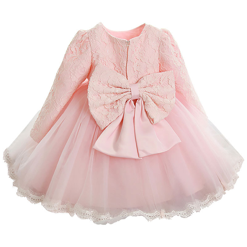 1Pcs 4T-12T Girl Dresses Bow Lace Princess Style Dresses Long Sleeve Cotton Pink White Red Girl Dresses Spring Summer Autumn V20<br>