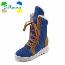 S.Romance Plus Size 34-43 Women Boots Fashion Round Toe Snow Boots Lace-Up Winter Boot Woman Shoes Black Red Blue SB760(China)