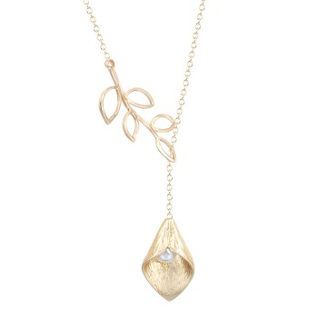 QIMING  Elegant Leaf with Calla Lily with Simulated Pearl Leaf Droplet Necklace Jewelry Gift for Girls and Women