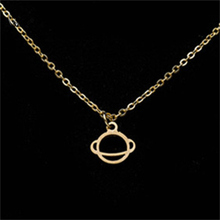 Gorgeous Tale Saturn Planet Necklaces Pendants Gold Color Stainless Steel Necklace Women Clavicle Chain Friendship Necklaces
