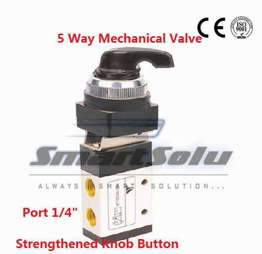 Free shipping 5 way hand push pull valve Port 1/4 exhaust Manual Mechanical control valve MSV86522-LB with Strengthened Knob<br><br>Aliexpress