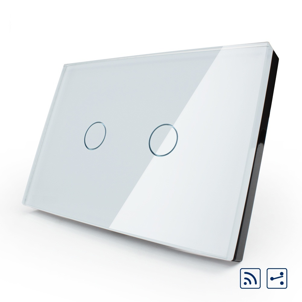 Manufacture US/AU,OS-002SR-81 remote switch, White Crystal Glass Panel, 2-Way Wireless Remote Home Wall Light Switch<br>