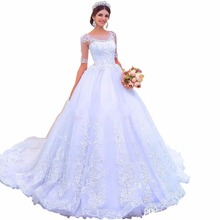 ZYLLGF Bridal Latest Design Wedding Gowns Soft Tulle White Wedding Dresses Middle East Robe De Mariee With Half Sleeves MD78