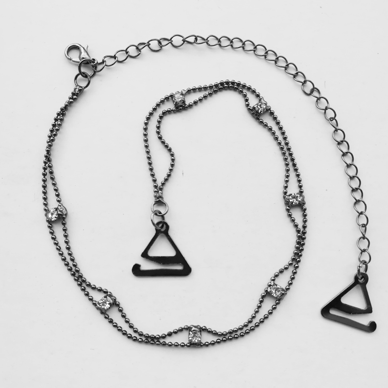 Metal Adjustable Silver Black Bra Shoulder Strap Rhinestone Bra Shoulder Strap Double Beads Clip Bra Underwear Shoulder Straps 6