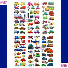 Cute Transport School Tourist Bus Taxi Truck Car Scrapbooking Bubble Stickers 6 Sheets Emoji Kids Boys Toys Factory Direct Sales