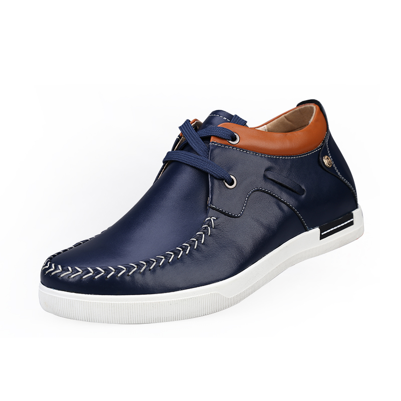 X8736-1 Casual Genuine Leather Flats Shoes Elevate Height Increase 6CM for Fashion Boys Match Jeans Color Blue /Orange Sz37-43<br><br>Aliexpress