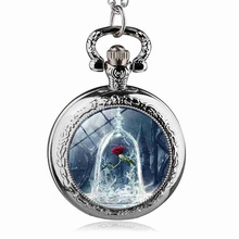 Fashion Movie Beauty and the Beast Flower Pattern Pocket Watch Women Children Pendant Necklace Jewelry Watches Gift