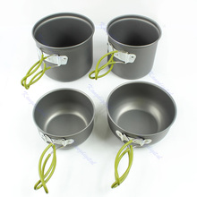 4pcs Outdoor Cookware Camping Hiking Backpacking Cooking Picnic Bowl Pot Pan Set