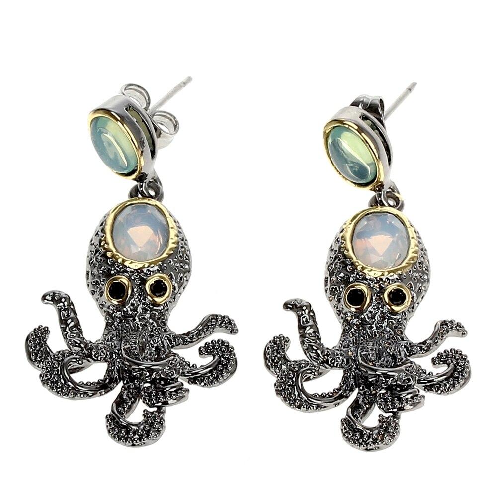 WE3875 octopus earrings vintage antique gothic jewelry women cz zircon opal (3)