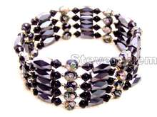 SALE Round 6mm Black Cloisonne Hematite Magnetic Beads & Blue Crystal Tibetan Silver Beads Necklace/Bracelet -bra280