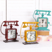 Fashion Household Decor Vintage Telephone Alarm Clock Metal Ornaments Clock Crafts Home Decoration Furnishing Articles