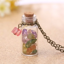 colorful sugar stone glass bottle necklace chain link women DIY hand made Jewelry birthday gift 3571(China)