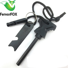 Big Size Multi-function Outdoor Survival Magnesium Flint Tooth Scraper Stone Fire Starter Lighter Kit FREE Gift Whistle