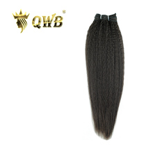QWB Kinky Straight Free shipping 12''~22'' Brazilian Virgin Hair Nature Color  100% Human Hair Weaving