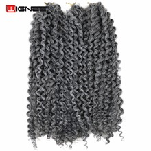 "Wignee 3PCS/Lot 12"" Curly Hair Extensions Marlybob Crochet Twist Braids Sliver Grey 1B Purple Hair Heat Resistant Synthetic Hair"