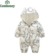 Baby Rompers Hello Kitty Winter Newborn Clothes Cartoon Infant Warm Hooded Cotton Padded Bebes Girl Snowsuit Thick Jumpsuit