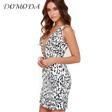 Buy DOMODA 2017 Women Dress Sleeveless Leopard Print Deep V Neck Sexy Dress Slim Streetwear Party Club Female Mini Dress for $13.71 in AliExpress store
