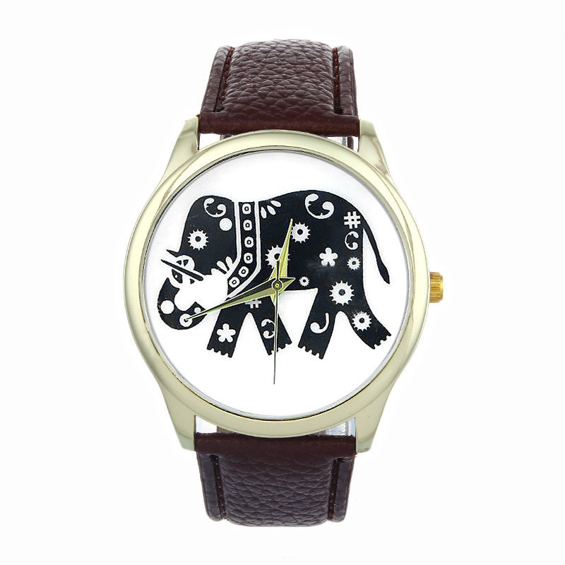 Feitong Fashion Dress Watches For Women Elephant Printing Pattern Weaved PU Leather Quartz Watch Clocks Hours relogio feminino<br><br>Aliexpress