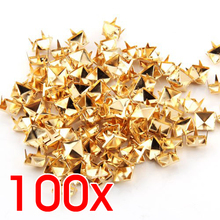 HGHO-100x Gold 8mm Pyramid Studs Spots Punk Nailheads Spikes for Bag Shoes Bracelet(China)